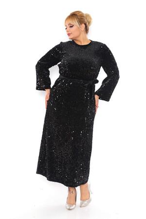 - Büyük Beden Kadife Zara Pul Payet Kemer Detay Abiye Elbise BYM3216 Siyah (1)