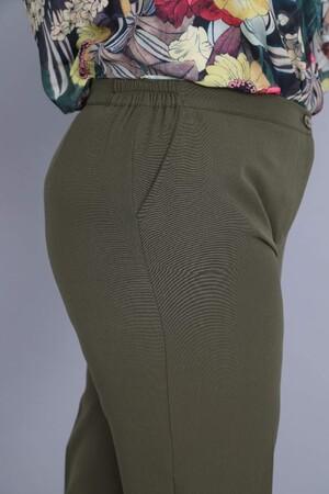 Angelino Fashion - Büyük Beden Kadın Bel Kenar Lastikli Fermuarlı Pantolon MN7814 Haki (1)