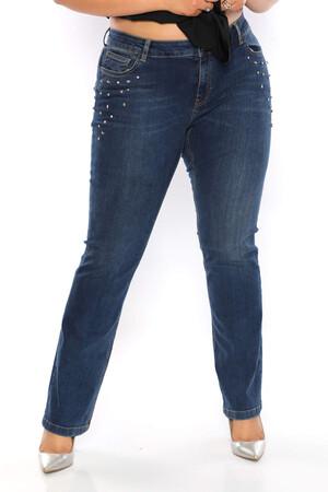 Angelino Fashion - Büyük Beden Kadın Cep Taş Detay Jeans FRN889 Mavi (1)