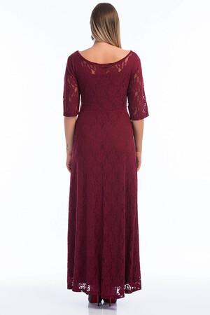 Angelino Butik - Büyük Beden Kadın Komple Güpür Büyük Beden Abiye Bordo KL800 (1)