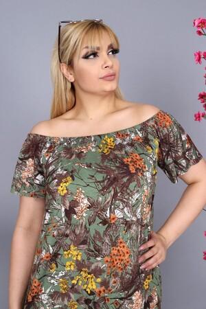 Angelino Fashion - Büyük Beden Kadın Krep Kruvaze Madonna Yaka Çiçek Desenli Yazlık Elbise BTR8854 Haki (1)