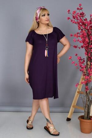 Angelino Fashion - Büyük Beden Kadın Krep Kruvaze Madonna Yaka Düz Renk Yazlık Elbise BTR8854 Mor (1)