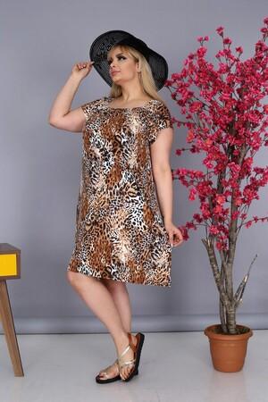 Angelino Fashion - Büyük Beden Kadın Krep Kruvaze Madonna Yaka Leopar Desenli Yazlık Elbise BTR8854 Leopar (1)
