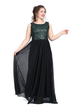 Angelino Butik - Büyük Beden Kadın Payetli Şifonlu Uzun Abiye Elbise KL7885 (1)