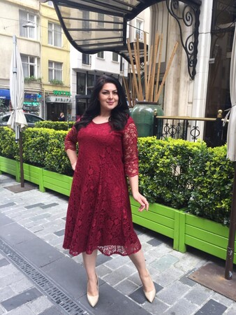 Valeria Fratta - Büyük Beden Kadın Rahat Dantel Elbise VF1830 Bordo (1)
