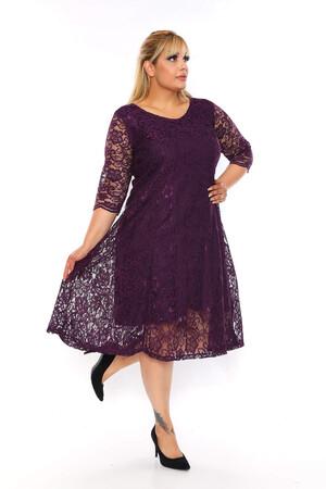 Angelino Butik - Büyük Beden Kadın Rahat Dantel Elbise VF1830 Mor (1)