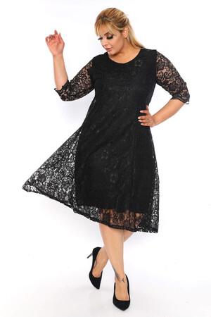 Angelino Butik - Büyük Beden Kadın Rahat Dantel Elbise VF1830 Siyah (1)