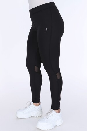 Angelino Fashion - Büyük Beden Kadın Transparan Uzun Tayt 24056 Siyah (1)