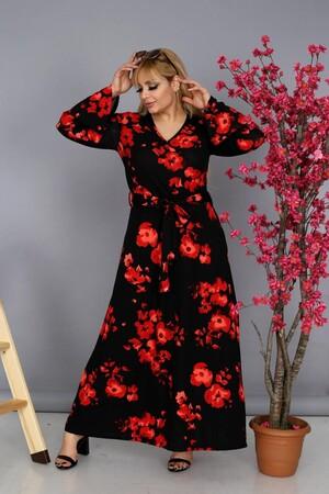 Angelino Fashion - Büyük Beden Kadın Viskon Kruvaze V-Yaka Gül Desenli Uzun Elbise BTR9685 Kırmızı (1)