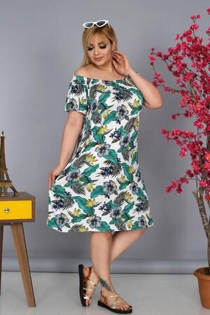 Angelino Fashion - Büyük Beden Kadın Krep Kruvaze Madonna Yaka Çiçek Desenli Yazlık Elbise BTR8854 Beyaz (1)