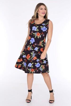Angelino Fashion - Büyük Beden Kadın Viskon Kruvaze Sıfır Kol Çiçek Desen Yazlık Elbise BTR6085 Siyah (1)