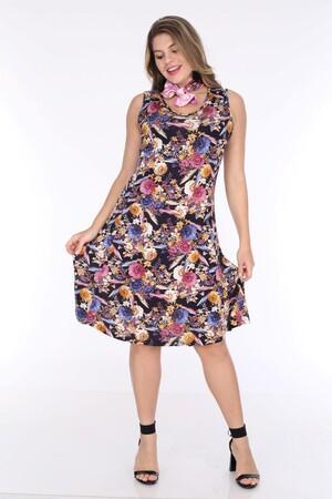 Angelino Fashion - Büyük Beden Kadın Viskon Kruvaze Sıfır Kol Gül Desen Yazlık Elbise BTR6085 Lacivert (1)