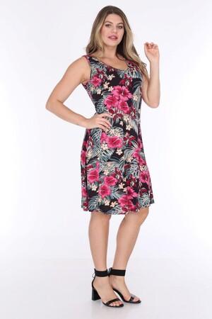 Angelino Fashion - Büyük Beden Kadın Viskon Kruvaze Sıfır Kol Çiçek Desen Yazlık Elbise BTR6085 Lacivert (1)