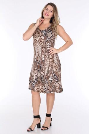 Angelino Fashion - Büyük Beden Kadın Viskon Kruvaze Sıfır Kol Leopar Desenli Yazlık Elbise BTR6085 Leopar (1)