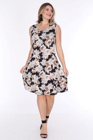 Angelino Fashion - Büyük Beden Kadın Viskon Kruvaze Sıfır Kol Papatya Desen Yazlık Elbise BTR6085 Siyah (1)