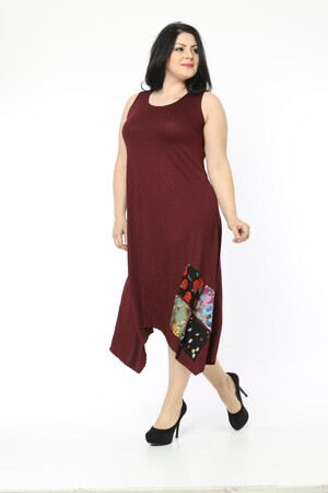 Angelino Fashion - Büyük Beden Kadın Yama Detay Günlük Elbise BTR1896 Bordo (1)