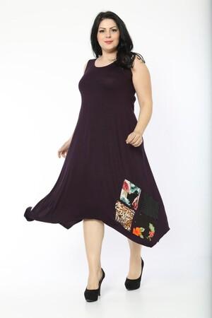 Angelino Fashion - Büyük Beden Kadın Yama Detay Günlük Elbise BTR1896 Mor (1)