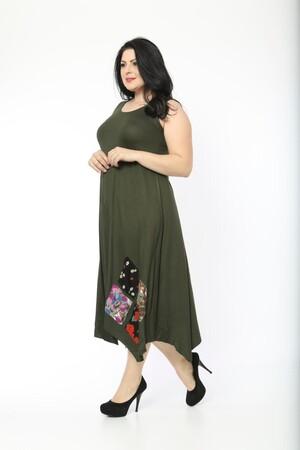 Angelino Fashion - Büyük Beden Kadın Yama Detay Günlük Elbise BTR1896 Haki (1)