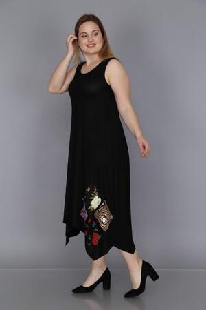 Angelino Fashion - Büyük Beden Kadın Yama Detay Günlük Elbise BTR1896 Siyah (1)
