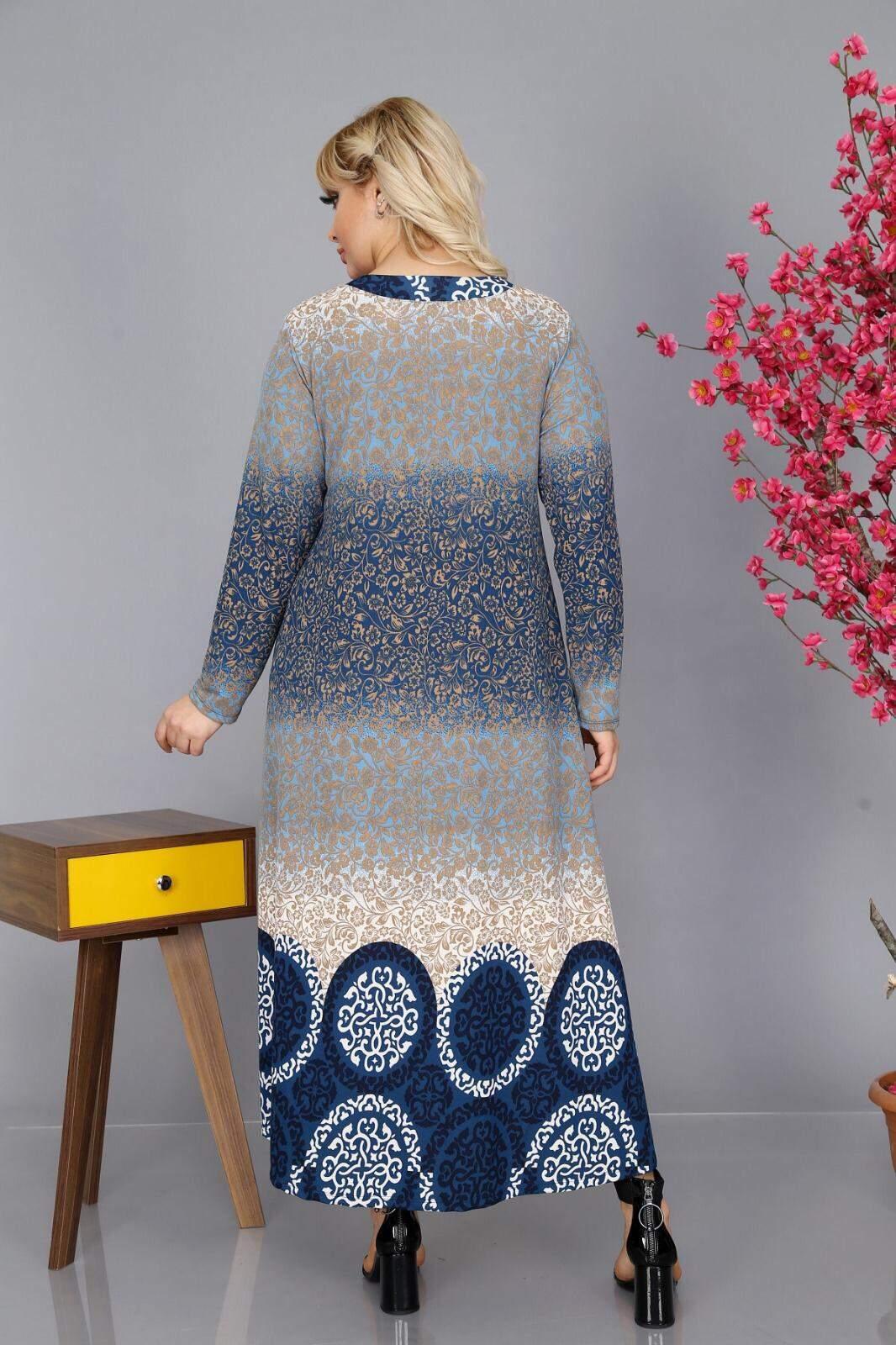Büyük Beden Lacivert Örme Krep Elbise