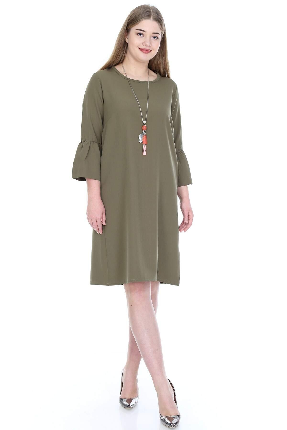 Büyük Beden Kampanyalı Elbise KL807-19hk