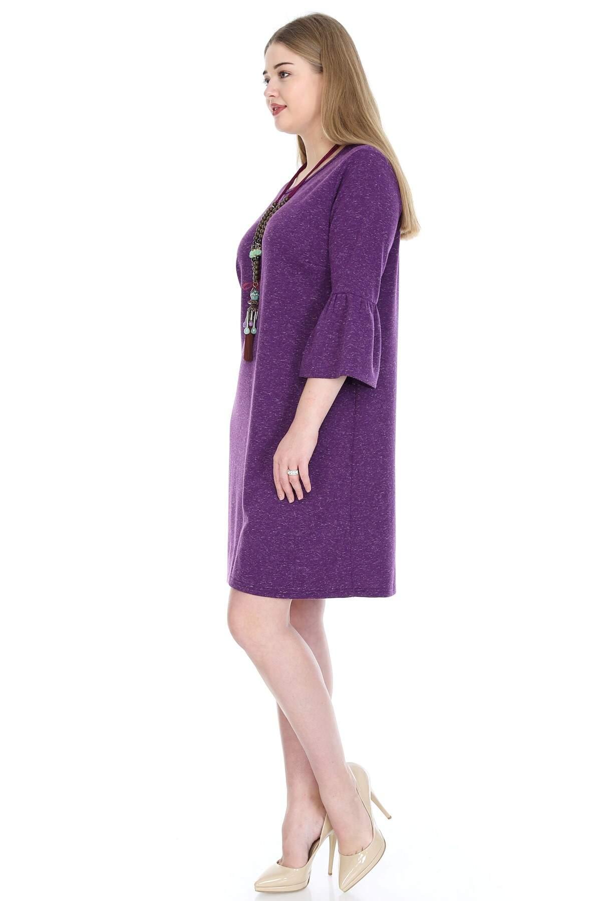 Büyük Beden Kampanyalı Elbise KL807-19krcmr