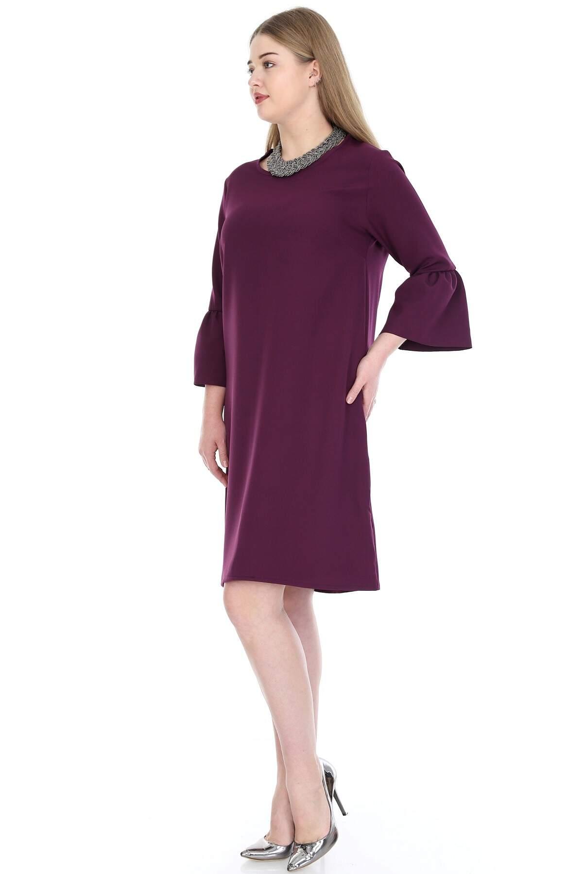 Büyük Beden Kampanyalı Elbise KL807mr
