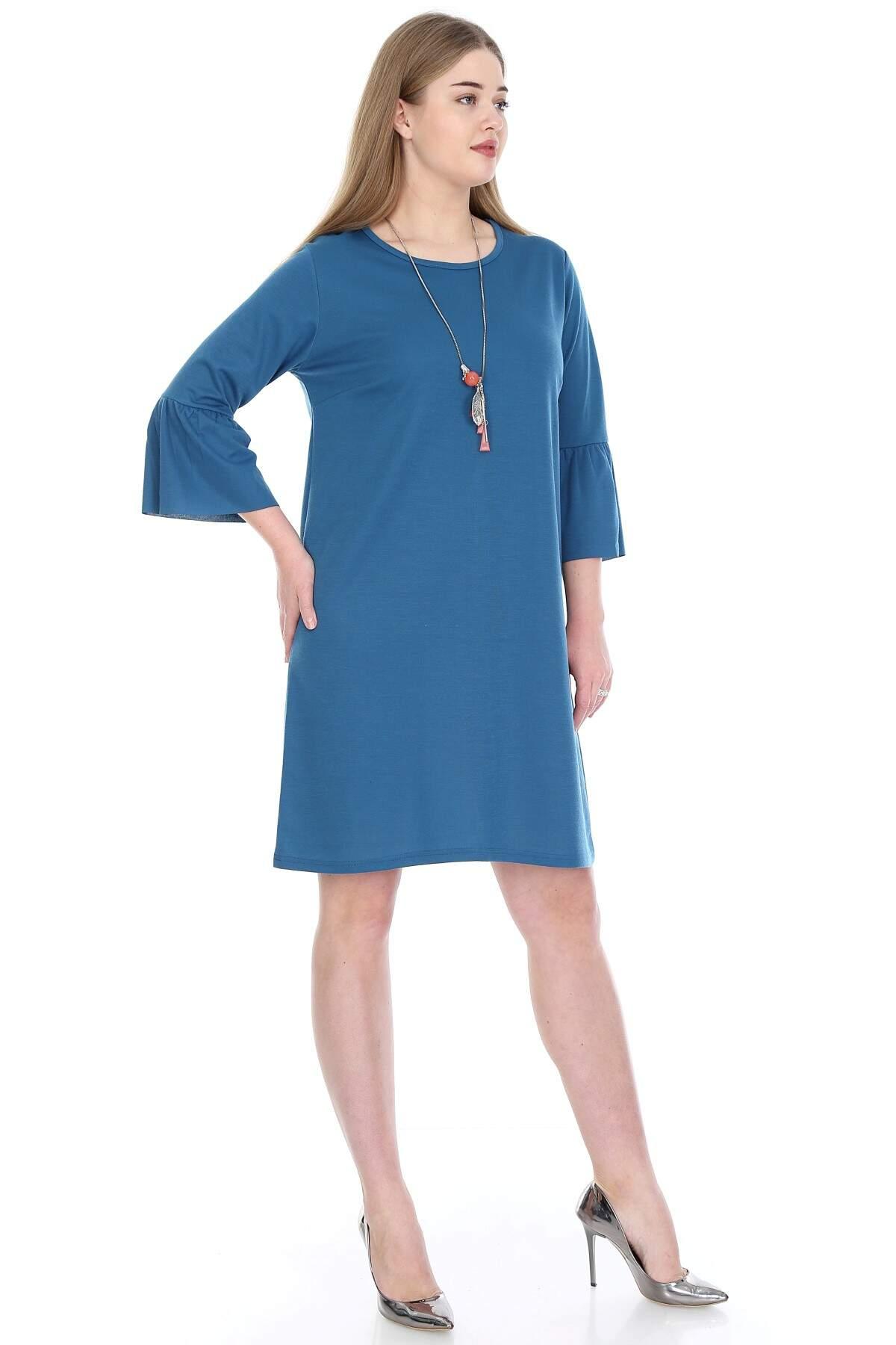 Büyük Beden Kampanyalı Elbise KL807-19pt