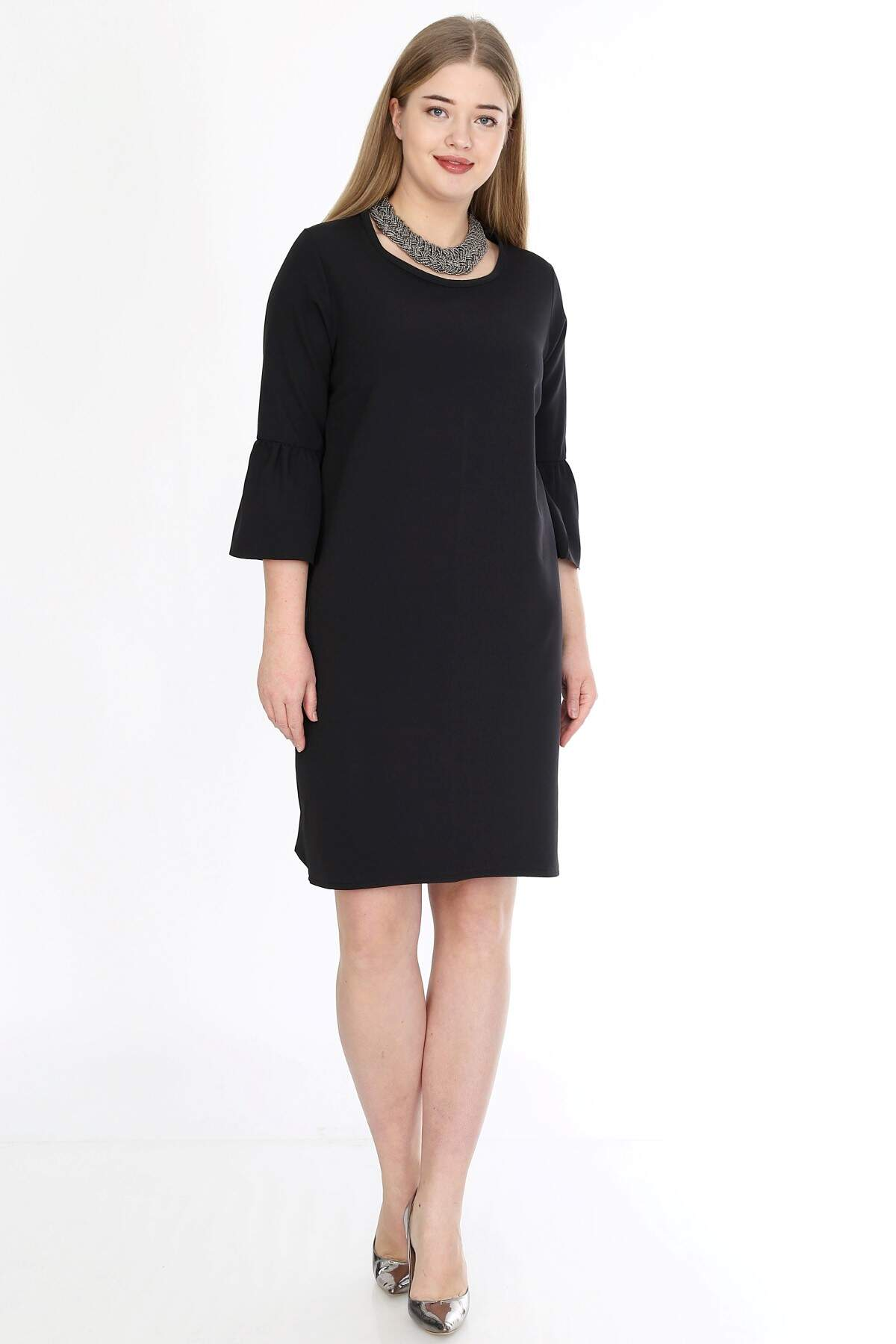 Büyük Beden Kampanyalı Elbise KL807sh