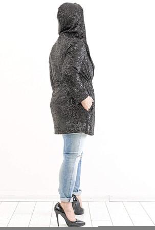 Angelino Butik - Büyük Beden Kapşonlu Zara Payet Ceket KL821 Siyah (1)