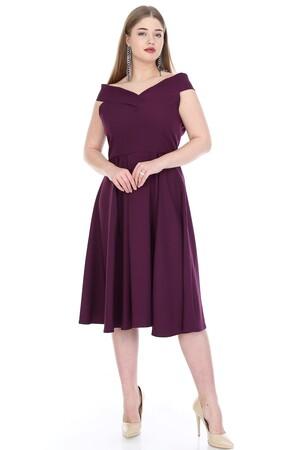 Angelino Butik - Büyük Beden Kayık Yaka Elbise KL812k Mor (1)