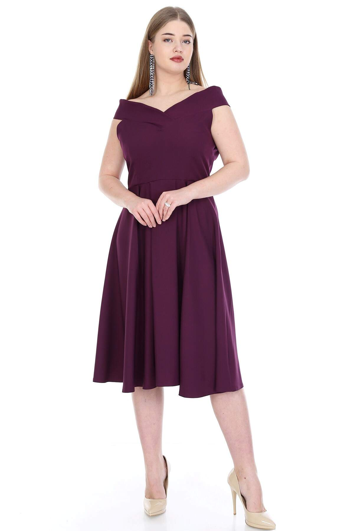 Büyük Beden Kayık Yaka Elbise KL812k Mor