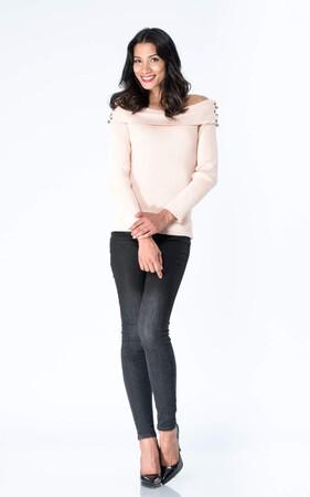 Angelino Style - Büyük Beden Kayık Yaka Omuzu Açık Triko Bluz YM8010 Pudra Pembesi (1)