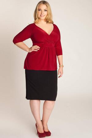 Mangolino Dress - Büyük Beden Kırmızı Bluz MDBS8004 (1)