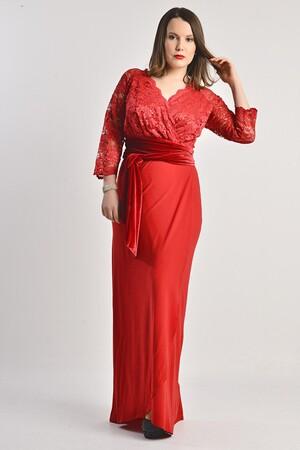 Angelino - Büyük Beden Kırmızı Uzun Abiye Elbise MD8756 (1)