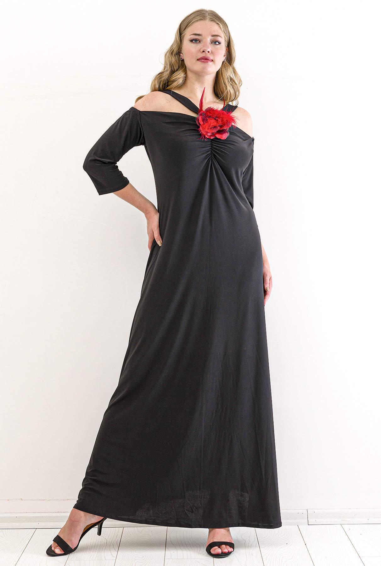 Büyük Beden Kısa Abiye Elbise PNR8002 Siyah
