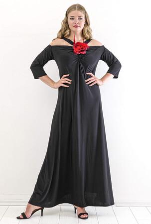 Angelino Butik - Büyük Beden Kısa Abiye Elbise PNR8002 Siyah (1)