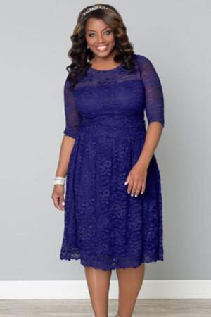 Mangolino Dress - Büyük Beden Kısa Abiye Sax MD7001 (1)