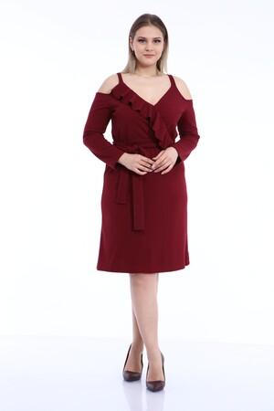 Angelino Butik - Büyük Beden Kısa Esnek Ve Likralı Elbise Bordo 1401 (1)