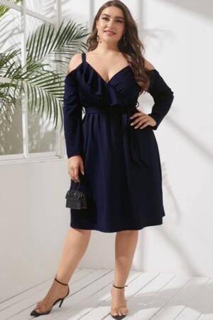 Angelino Butik - Büyük Beden Kısa Esnek Ve Likralı Elbise Lacivert 1401 (1)