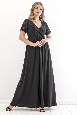Angelino Butik - Büyük Beden Kol Omuz Güpür Detay Sandy Uzun Abiye Elbise PNR26002 Siyah (1)