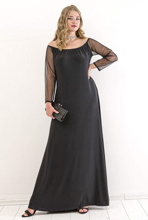 Angelino Butik - Büyük Beden Kol Şifon Omzu Açık Abiye Elbise PNR6189 Siyah (1)