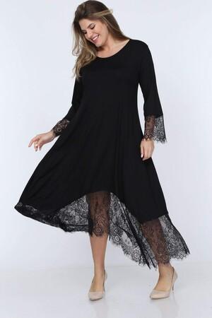 Angelino Fashion - Büyük Beden Kol ve Etek Tül Detay Viskon Elbise YM4897 Siyah (1)
