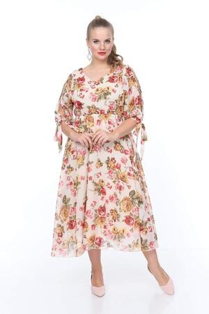 Angelino Butik - Büyük Beden Kolları Bağcıklı Güllü Elbise nv4017 (1)