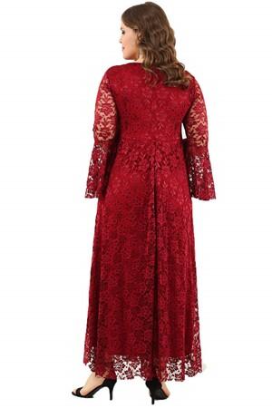 Angelino Butik - Büyük Beden Kolları Volanlı Dantel Elbise DD791 (1)