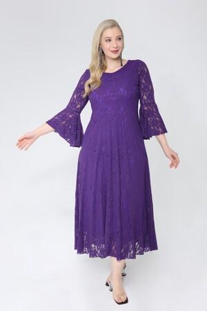 Angelino Butik - Büyük Beden Kolları Volanlı Komple Dantel Elbise KL791 (1)