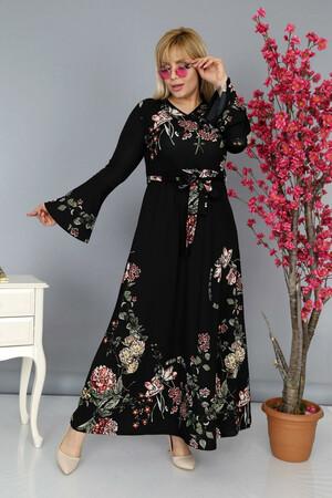 Angelino Fashion - Büyük Beden Kolları Volanlı Krep Çiçek Desenli Kemer Detaylı Tesettür Elbise BTR6705 Siyah (1)