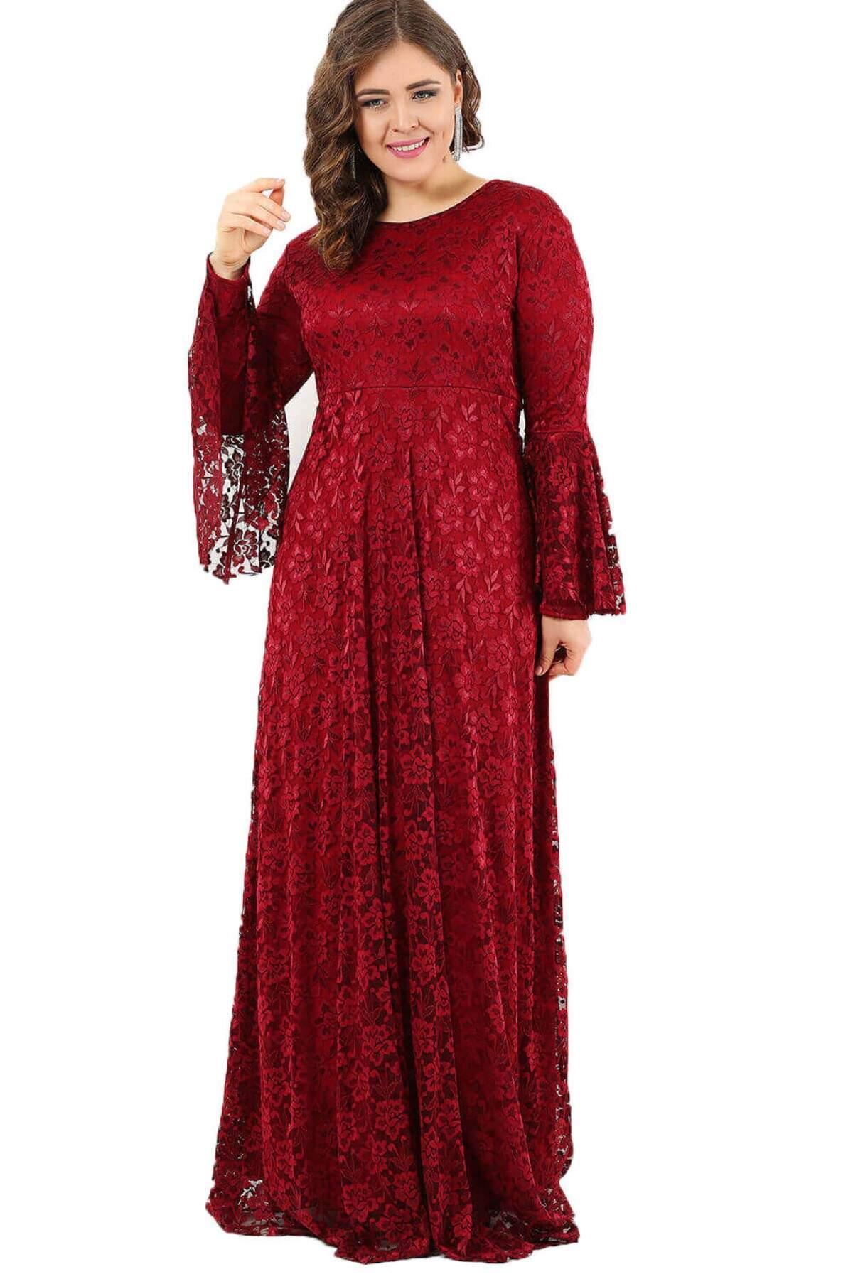 Büyük Beden Kolları Volanlı Tesettür Elbise 110-791