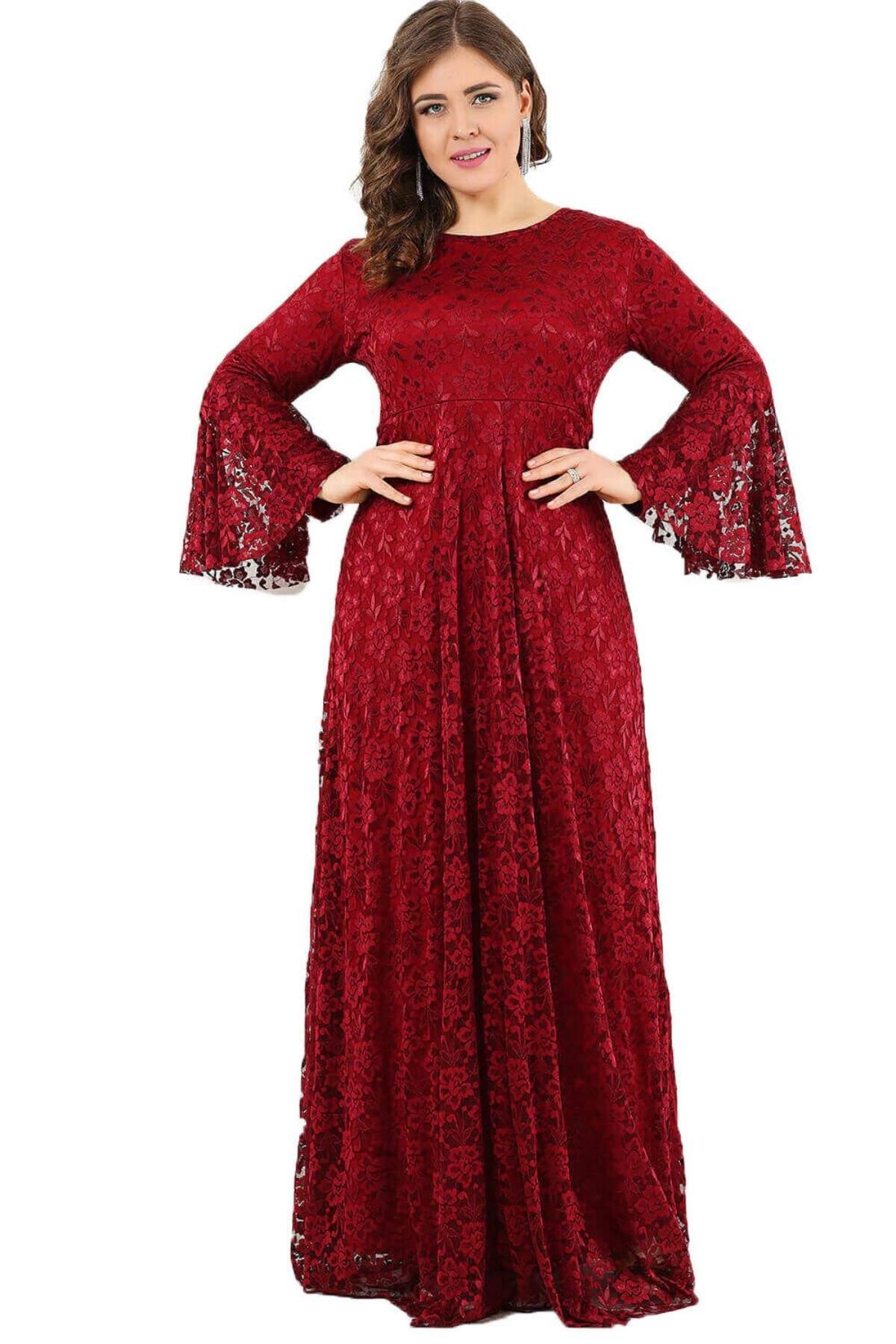 Büyük Beden Kolları Volanlı Tesettür Elbise DD791T