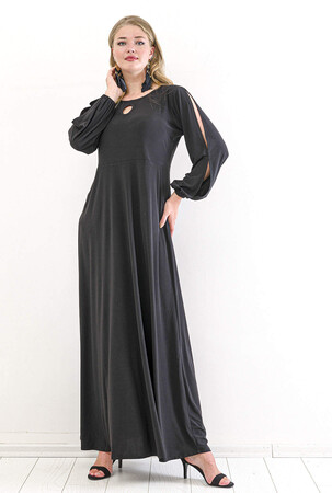 Angelino Butik - Büyük Beden Kol Yırtmaç Detay Uzun Abiye Elbise PNR8008 Siyah (1)